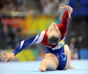 puzzel Gymnastiek en turnen het uitvoeren van de vloer oefening