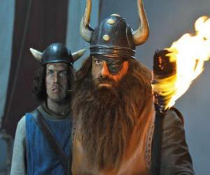 puzzel Halvår, de vader van Vicky en de leider van de Vikingen in het dorp van Flake met zijn ooglap