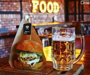 puzzel Hamburger en bier