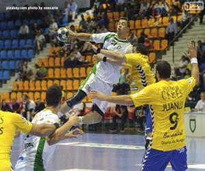 puzzel Handbal - Player in een sprong te lanceren
