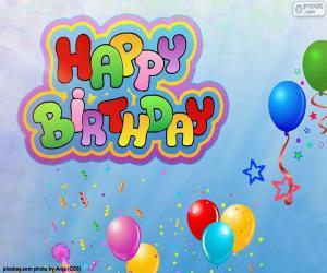 puzzel Happy Birthday, gelukkige verjaardag