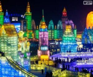 puzzel Harbin ijs en sneeuw beeldhouwkunst Festival, China