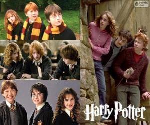 puzzel Harry Potter en zijn vrienden Ron en Hermelien