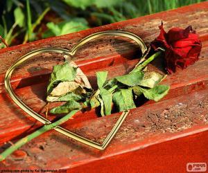 puzzel Hart en rose