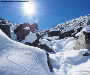 puzzel Hart in de sneeuw