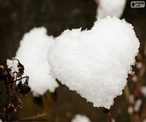 puzzel Hart van sneeuw