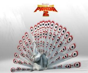 puzzel Heer Shen, een albino pauw is de belangrijkste vijand in de avonturen van de film Kung Fu Panda 2