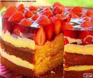 puzzel Heerlijke aardbei taart