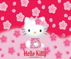 puzzel Hello Kitty met bloemen