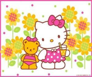 puzzel Hello Kitty met een drankje op het platteland met haar teddybeer Tiny Chum