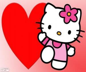 puzzel Hello Kitty met een groot hart