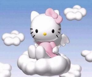 puzzel Hello Kitty vliegen over een wolk