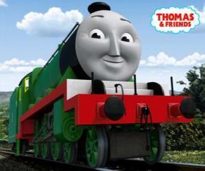 puzzel Henry, de lange en snelle groene locomotief nummer 3