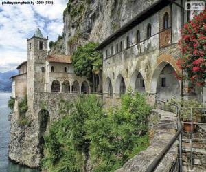 puzzel Hermitage van Santa Caterina del Sasso, Italië