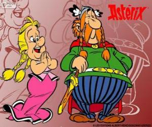 puzzel Heroix, de leider van het Gallische dorp met zijn vrouw Bellefleur