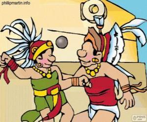 puzzel Het balspel was een Maya ritueel, spelers strijden om de bal door de ring van stenen