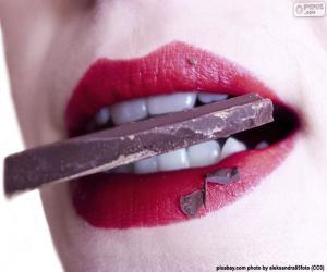 puzzel Het eten van chocolade