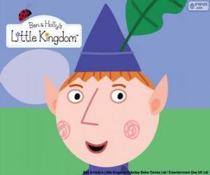 puzzel Het gezicht van de Ben Elf en zijn driehoekige hoed met de eiken blad