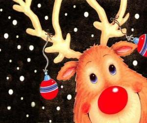 puzzel Het hoofd van Rudolf, de rode neus rendieren, versierd met kerstversiering