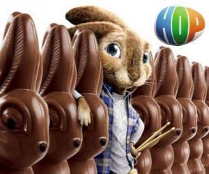 puzzel Het konijn EB zou slagen zijn vader als de paashaas. Hop, de film