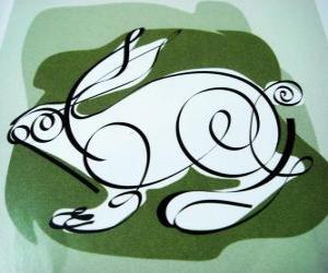puzzel Het konijn, het konijn teken, het Jaar van het Konijn. Het vierde dier in de Chinese horoscoop