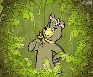 puzzel Het mooie beer Cindy is de vriendin van Yogi Beer