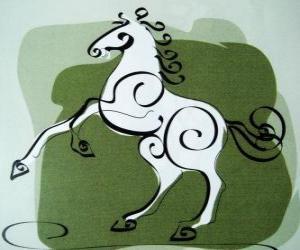 puzzel Het paard, het teken van het paard, Jaar van het Paard in de Chinese astrologie. De zevende dier van de Chinese Zodiac