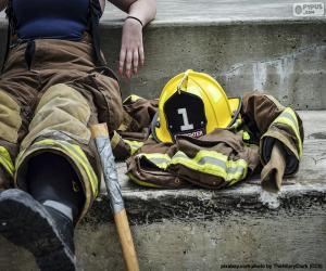 puzzel Het rusten van de brandman