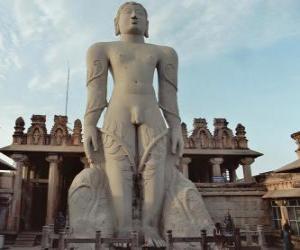 puzzel Het standbeeld van Bahubali, ook bekend als Gommateshvara, in de Jain Tempel van Shravanabelagola, India