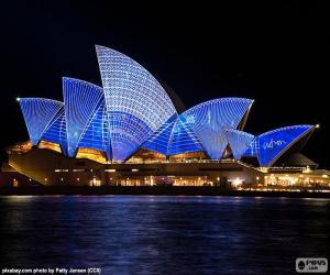 puzzel Het Sydney Opera House in de nacht
