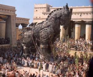 puzzel Het Trojaanse paard, een reusachtige holle houten paard