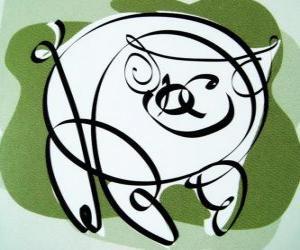 puzzel Het varken, teken van het Varken, het jaar van het Varken in de Chinese astrologie. De laatste van de twaalf dieren in de Chinese dierenriem