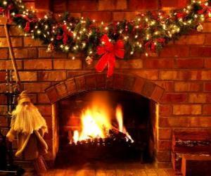 puzzel Het vuur brandt op kerstavond