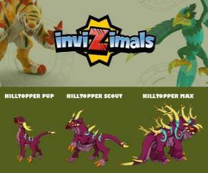 puzzel Hilltopper in drie fasen Hilltopper Pup, Hilltopper Scott en Hilltopper Max, Invizimals