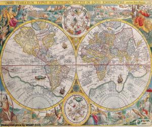 puzzel Historische kaart van de wereld