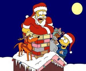puzzel Homer en Bart Simpson helpen Santa Claus met geschenken
