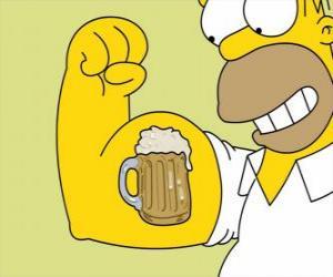 puzzel Homer Simpson trots op zijn kracht