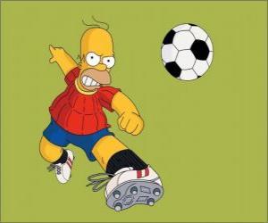 puzzel Homer Simpson voetballen
