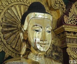 puzzel Hoofd Boeddha's goud