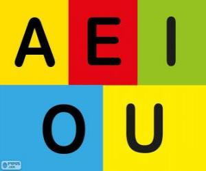 puzzel Hoofdletters A, E, I, O, U