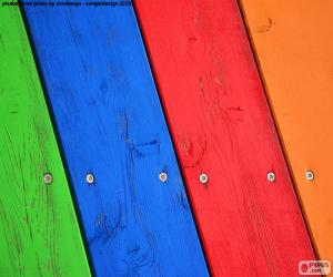 puzzel Hout van diverse kleuren