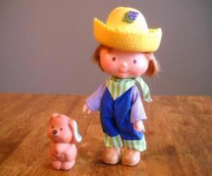 puzzel Huckleberry Pie spelen met zijn hond huisdier Pupcake. Hij is een van de vriend van de Anna Aardbei