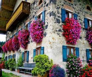 puzzel Huis in het voorjaar met bloemen in de ramen