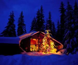 puzzel Huis met een grote versierde kerstboom in de tuin