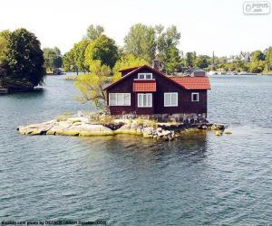 puzzel Huis op een klein eiland