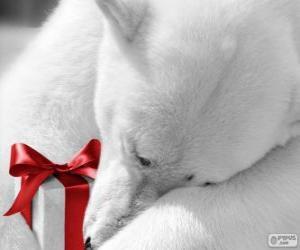 puzzel Ijsbeer met een cadeau