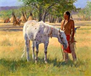 puzzel Indiaanse krijger met zijn paard in de buurt van het kamp