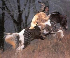 puzzel Indiaanse krijger paardrijden