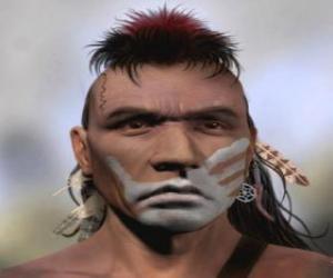 puzzel Indiase krijger met zijn gezicht geschilderd