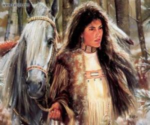 puzzel Indiase meisje met zijn paard
